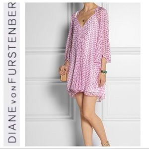 💕SALE💕 DVF Fleurette Silk-Chiffon Pink Dress